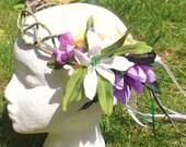 Beltane Midsummer vine circlet - Purple Daisy Yellow Lily Silk Flower