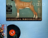BOXER records dog music graphic illustration on gallery wrapped canvas by stephen fowler