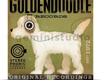 Goldendoodle Records dog illustration graphic art on gallery wrapped canvas by stephen fowler