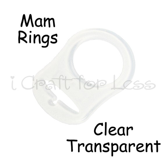 5 MAM Adapter Rings - Dummy Clip / Pacifier Chain Adapter - Clear Silicone - for Button Style Pacifiers - SEE COUPON
