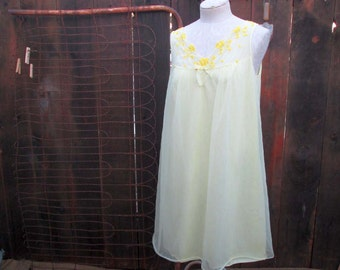 Vintage Yellow Nightgown 60s Sheer Chiffon nightie Gaymode lingerie S M