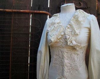 Corset tie beach maxi dress 70s Vintage Ivory Lace Dress Beach Bride Vintage Wedding Festival dress S