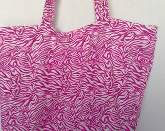 XL Flat Bottom Tote-Pink Zebra (Bag 542)