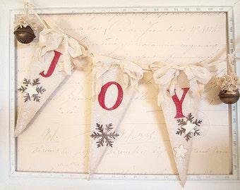 Christmas Banner, Christmas Decor, Christmas Garland, Vintage Christmas, Shabby Chic Christmas, Cottage Chic, Rustic Chic Christmas