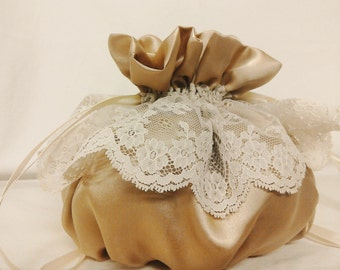 Wedding Drawstring Pouch  - Bridal Purse - Communion- James Hare Imperial Silk Iced Coffee with Nottingham Scallop Lace