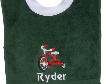 Embroidered Personalized Tricycle Baby Bib