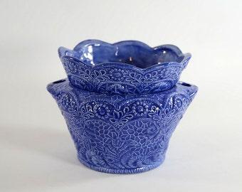 Scallop Lace African Violet Planter Blue