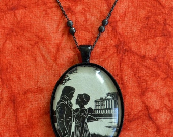 Sale 20% Off // PRIDE AND PREJUDICE Necklace - Elizabeth and Darcy, pendant on chain - Silhouette Jewelry // Coupon Code SALE20