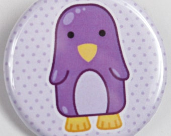 Purple Penguin on Polka Dots