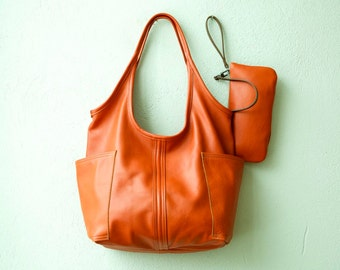 Sale - soft leather tote - ACCESS TOTE  med - leather tote - leather shoulder bag - leather laptop bag