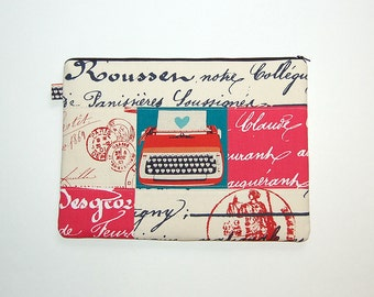 MacBook Pro 13 Padded Sleeve Case Cover - Typewriter on Cursive Patchwork (One of a Kind and Ready To Ship)
