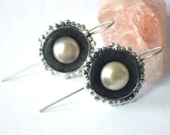 June Stone - Pearl Earrings, Pearl Drop Earrings, Dangle Pearls, Pearl Jewelry, White Pearl Earrings, Sterling Jewelry, Bridal Earrings