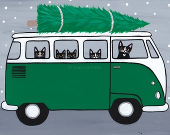 Green VW Bus Christmas Cats Original Folk Art Painting