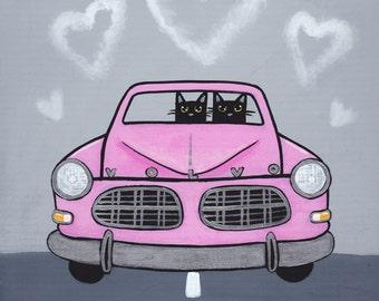 Valentine Road Trip Original Cat Folk Art Painting