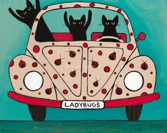 The Ladybugs Road Trip Whimsical Cat Folk Art Print 8x8, 10x10