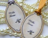 Wedding Favor Tags, Bee Tags, Bee Wedding Favors, Silver Wedding Favors, Set of 10, Party Favor Tags, Vintage Gift Tags