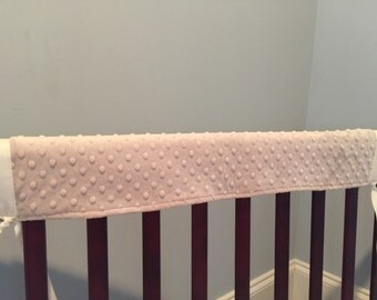 Crib Railing Teething Guard, 3 pcs.- taupe minky dot chenille