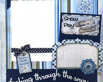 Dashing Through The Snow - Premade Winter Scrapbook Page - Snow Play