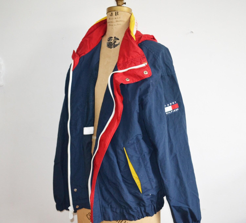 vintage tommy hilfiger windbreaker sailor jacket with hood xl. Black Bedroom Furniture Sets. Home Design Ideas