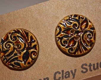 Buttons - Ceramic Buttons - Textured Handmade Ceramic Button - Hat Button - set of 2 #29
