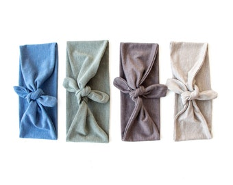 Tie Up Headscarf // Fabric Headband // Tie Up Hair Wrap // Marl // Flecked // Cornflower Blue // Moss Green // Taupe Brown // Barley