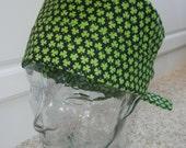 Tie Back Surgical Scrub Hat with Tiny Shamrocks