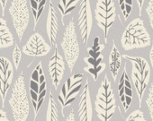 Hello Bear fabric by Bonnie Christine for Art Gallery Fabrics, Gray fabric, Nature fabric- Leaflet in Dawn