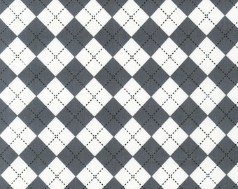 Plaid Fabric, Remix Fabric, Cotton Fabric by Ann Kelle for Robert Kaufman and Fabric Shoppe- Argyle in Steel Gray- Fat Quarter to Yardage