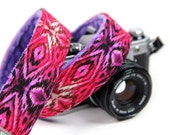 Pink Camera Strap - Berry iKat with Lavender Minky