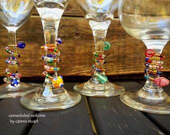 handmade set of glass beaded wine glass charms