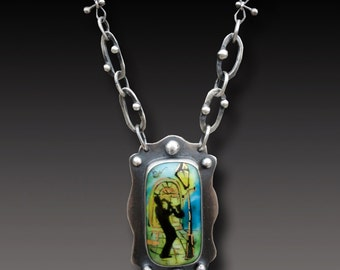 New Orleans Necklace Sterling Silver Long Necklace with Painted Fused Glass Cab
