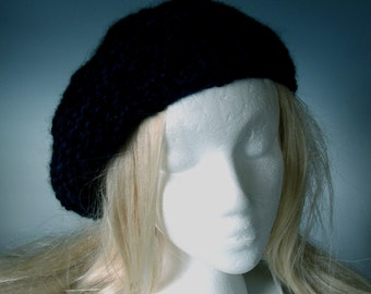 Tam Hat ALPACA 'BLACK and BLUE' Beret men women boys girls  natural black  blue-warm  soft   hand knit   hand spun  medium