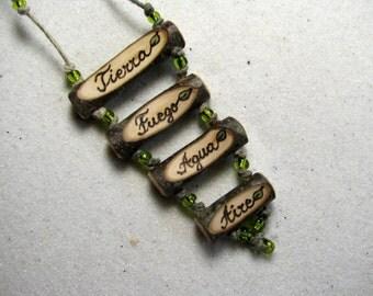 Los Cuatro Elementos - Fuego, Aire, Agua, Terra - Español Spanish Peridot Bead Hemp Rustic Holly Twig Wooden Necklace by Tanja Sova