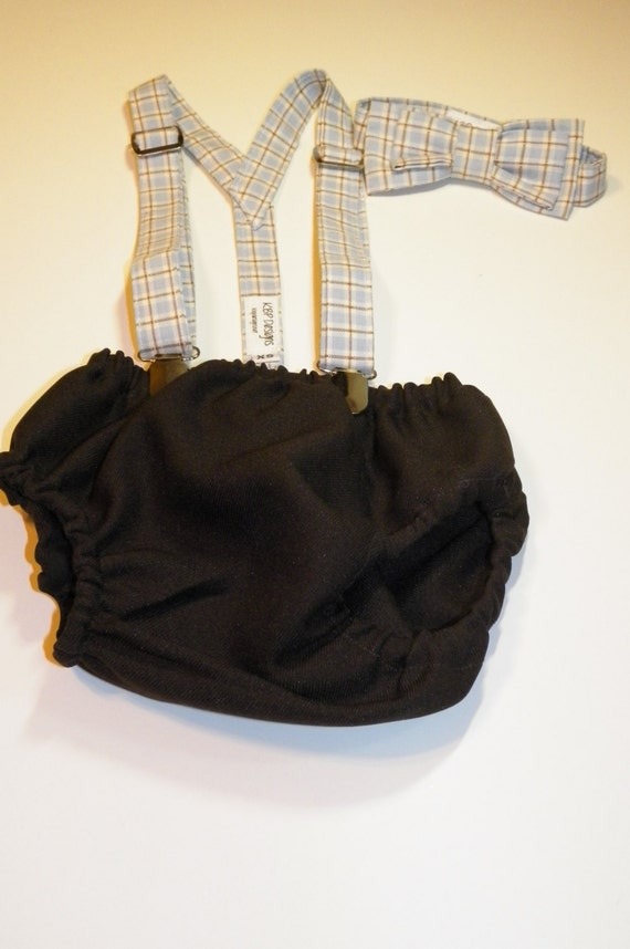 Infant Boy Outfit size 6/12 months Diaper cover, bow tie , Suspender Set