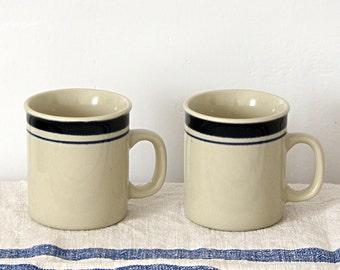 Vintage White Blue Striped China Mug Cup Coffee Cup Set of 2 Country Farmhouse Rustic