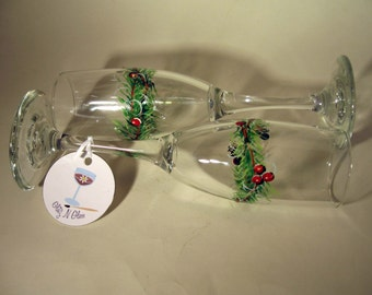 Hand Painted Toasting Flutes With Berries and Boughs