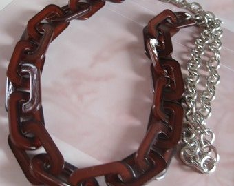 Long Trendy Lucite Necklace in dark brown shade with silver chain Tortoise Shell color lucite chain necklace