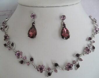 Bridal Jewelry - Bridal Accessories-Wedding Jewelry- Bridesmaids Jewerly set - Mauve lavender purple rhinestone jewelry set