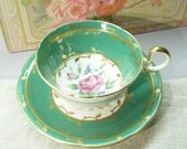 Vintage Tea Cup, Aynsley Tea Cup,  Bone China , Rose Flower,  Pink And Green, Numbered Tea Cup, Marked Tea Cup
