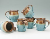 Honey Brown and Light Blue Large Pot Belly Coffee Mug, Ready to Ship 16 oz Handmade Ceramic Mug, Available in Quantity
