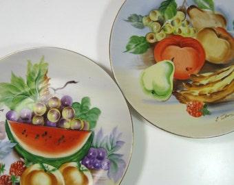 VTG Hand Painted UCAGCO Japan FRUIT Plates Gold Rimmed Porcelain Signed