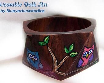 CLEARANCE sale,Pink Owl, Blue Owl, Green Owl, Rain Forest, Wiser Than You Think, Original folk ART, painting, wood Cuff, Bracelet, Bangle