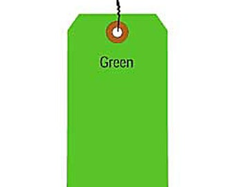 25 Fluorescent Green Shipping Tags