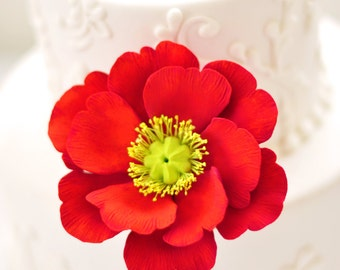 Large Clay Red Poppy Cake Flower