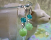 earrings for Junior Girl Sea Green Mother of Pearl and Swarovski Crystals