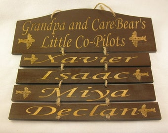 Customized wooden hanging sign Grandpa's Little Co-pilots (Mom, Dad, Uncle, Grampy, Nana, Aunt, etc.)