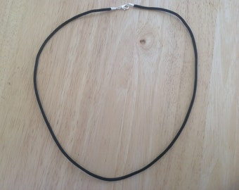 Black Necklace Cord EXTRA THICK 3mm for Pendant ...choose length...Silver Plated