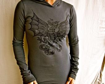 Celtic Wyvern Dragon Asphalt Grey Gothic Womens Babyrib Soft Long Sleeved Hoodie Small & Medium Only