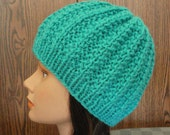 Turquoise Hand Knit Ribbed Wool Beanie Knit by Lynne