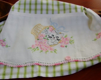 Sweet Kitty Cat Basket of Flowers From  Recycled Vintage Pillow Case to Up Cycled Dish Towel Kitchen Decor Gift Idea for Cook Chef Foodie